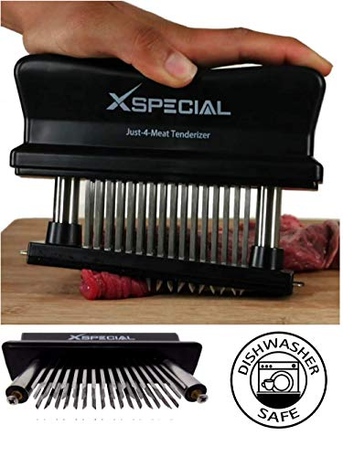 XSpecial Meat Tenderizer Tool 48-Blades Stainless Steel | Easy To Use & Clean - Turn Tough & Hard Meats Into Tender Buttery Goodness | No More Hammer Or Mallet Pounding | 100% Hassle-Free Guarantee!