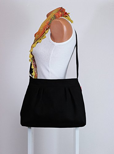 Black Bag, Small and Sweet, Washable, Teen girl, Purse, Pleated Bag, Canvas, Shoulder bag, Crossbody Bag, Women Accessories, gift for her hippirhino Different Colors are Available - Pleated Handbag Purse