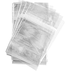 100 Pcs 4 5/8 X 5 3/4 Clear (A2) (P) Card Resealable Cello / Cellophane Bags - Tape Strip on Body By Super Z Outlet