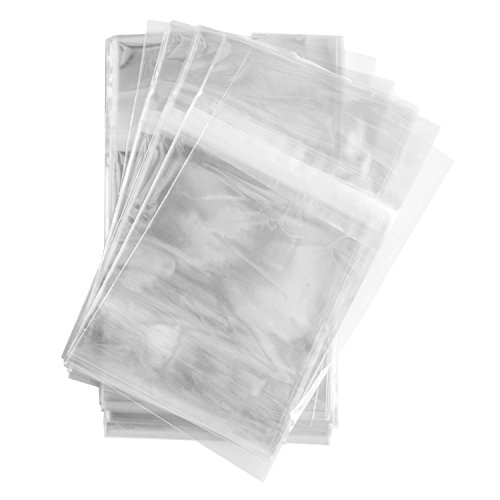 100 Pcs 4 5/8 X 5 3/4 Clear (A2) (P) Card Resealable Cello / Cellophane Bags - Tape Strip on Body