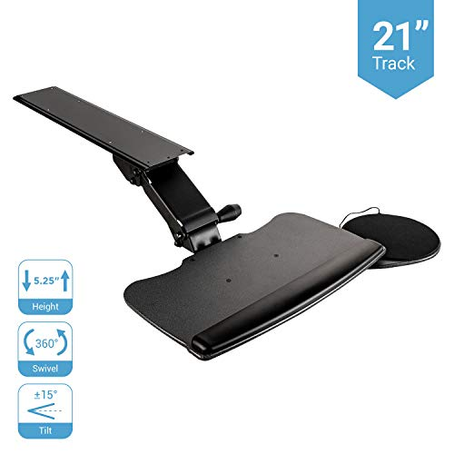 """Under Desk Keyboard Tray, Easy to Install 20"""" x 11"""" Undermount Tray with Wrist Rest & Bonus Mouse Pad, Cable Management - Swivels 360° with Adjustable Height and ±15° Tilt Angle 21"""" Track"""