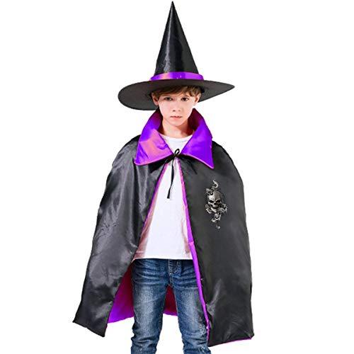 Skull With Flower Children Halloween Costume Horn Pumpkin Cape+Hat Wizard Witch Cloak Cape Robe]()
