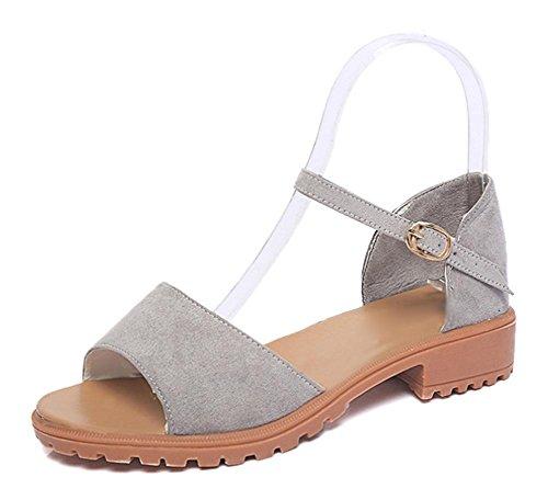 Sommer mit niedrigen Absätzen offene Zehen flache Schuhe Römersandale Einfachen grey