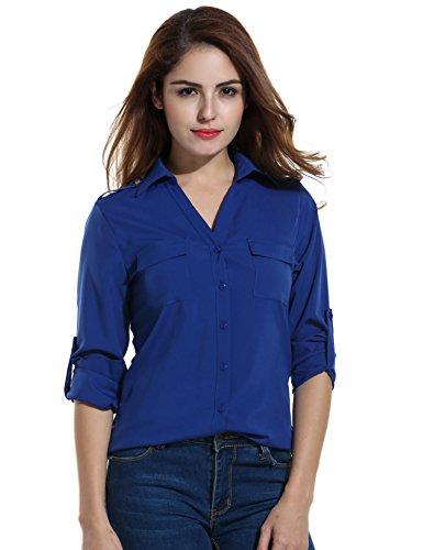 ANGVNS Womens Pocket Sleeve Collar
