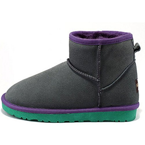 Women Short Winter Leather Boots Frosted Grey MILANAO Warm vzUWqUd