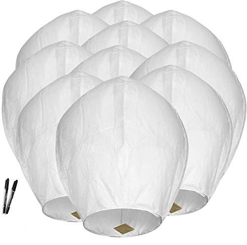 Maylai 10 Pak Handgemaakte Witte Chinese lantaarns Vliegende Papieren Lantaarns Wenslantaarns in de Lucht voor…