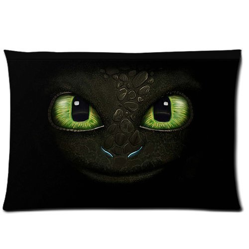 Dragon Pillowcase - Custom How to Train Your Dragon Eyes of Toothless Pillowcase Rectangle Zippered Two Sides 20x30 Pillow Case Cover