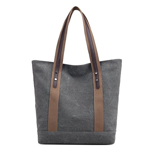 Women's Canvas Shoulder Bags Retro Casual Handbags Work Bag Tote Purses (Grey) (Leather Tote Retro)