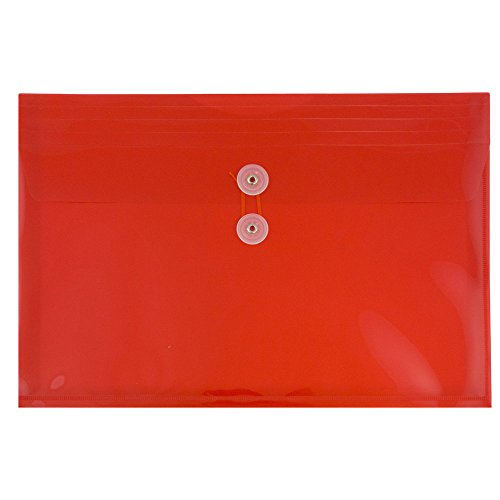 JAM PAPER Plastic Envelopes with Button & String Tie Closure - Letter Booklet - 9 3/4 x 13 - Red - 12/Pack