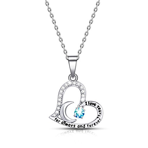 Aqua Pendant Mother Pearl Of (ivyAnan Jewellery Birthday Gift for Women I Love You Dancing Birthstone Aquamarine Necklace Jewelry Gift for Women Girls Daughter Wife (March))