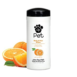 """John Paul Pet Body and Paw Pet Wipes for Dogs and Cats, Infused with Orange Oil, 7"""" x 7"""" Sheets in 45-Count Dispenser"""