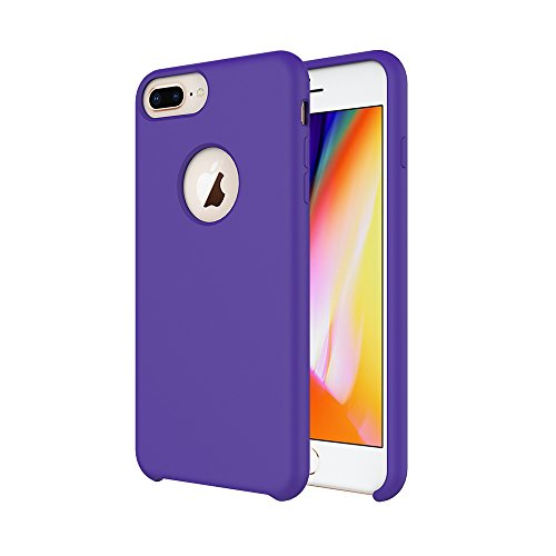 iPhone 7 Plus Case/iPhone 8 Plus Case/iPhone 6 Plus Case, Soft Touch, Comfortable Grip, Slim Fit, Tiamat Liquid Silicone Case with Microfiber Cloth Lining Cushion - Purple