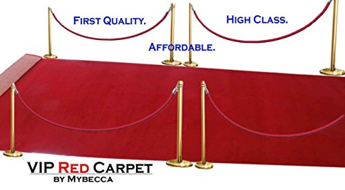 Mybecca High Class VIP Quality Persian RED CARPET Aisle Runner for Parties & Hollywood-feel Events, 2 x 10 ft (1ft.8 x 10 ft) Wedding and ceremony red carpet (Carpet Wedding Red)