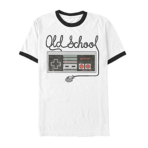 Nintendo Men's Old School NES Controller White/Black Ringer T-Shirt (Ringer School Old)