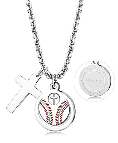 Thunaraz Stainless Steel Athletes Cross Necklace Bible Verse Football Soccer Powerful Christian Necklace for Men Boys Silver-Tone