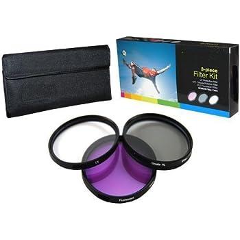 PLR Optics 49MM High Resolution 3-piece Filter Set (UV, Fluorescent, Polarizer) For The Sony Alpha NEX-C3, NEX-7, NEX-6, NEX-5T, NEX-5N, NEX-5R, NEX-5, NEX-3, NEX-3N, NEX-F3, ALPHA A3000, A5000, A5100, A6000, 7 II, 7S, a7, a7R Digital SLR Cameras Which Have The Sony E Series (16mm, 18-55mm, 50mm, 55-210mm, 30mm) Lens
