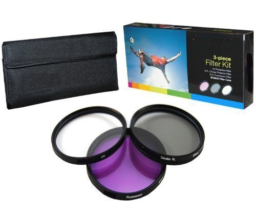 PLR Optics 55MM High Resolution 3-piece Filter Set (UV, Fluorescent, Polarizer) For The Panasonic Lumic DMC-FZ70 Digital Camera