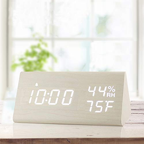 Digital Alarm Clock, with Wooden Electronic LED Time Display, 3 Alarm Settings, Humidity & Temperature Detect, Wood Made Electric Clocks for Bedroom, Bedside... (White)