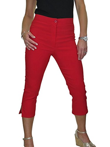 Rojo De Ice Pantalones Elástico Tejido Cintura Capri Alta 0afpawTq