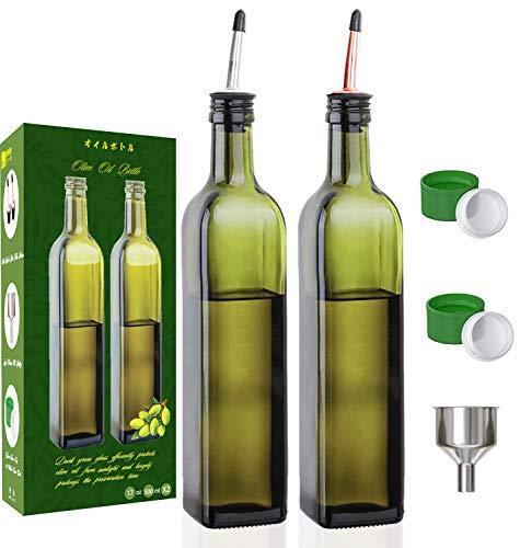 Olive Oil Dispenser Bottle-2 Pack of 17 oz Glass Olive Oil Bottles with Easy Pour Spout Set - Oil and Vinegar Cruet Set with Food Grade Funnel Drip Free Olive Oil Carafe Decanter for Kitchen
