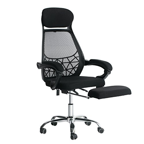 EverKing High Back Mesh Recliner Office Chair with Footrest, Ergonomic Executive Task Reclining Chair, 360 Degree Swivel Chair Computer Desk Lumbar Support Chair Napping Chair by E EVERKING