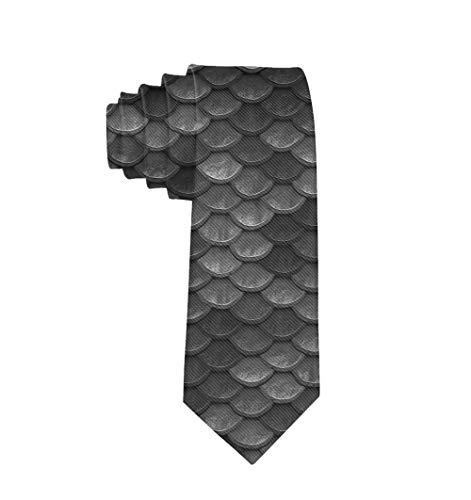 Boys Beautiful Charcoal Gray Mermaid Fish Scales Novelty Neckties - Formal Tie Suit Accessories Casual Gentleman Tie Necktie Gift ()