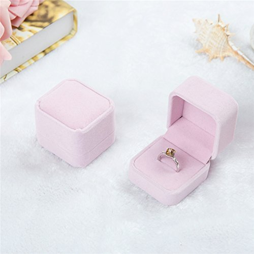 (Weka Classic Velvet Wedding Ring Box Fashion Jewelry Earrings Display Case Necklace Holder Jewelries Gift Boxes-Pink)