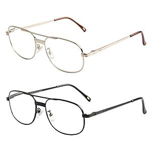 LianSan Brand Designer Metal Full Frame Womens Mens Reading Glasses Large Spring Hinged Arms Fashion Eyeglasses 1.0 1.5 2.0 2.5 3.0 3.5 4.0 L3690 (2 pairs, 1.00)