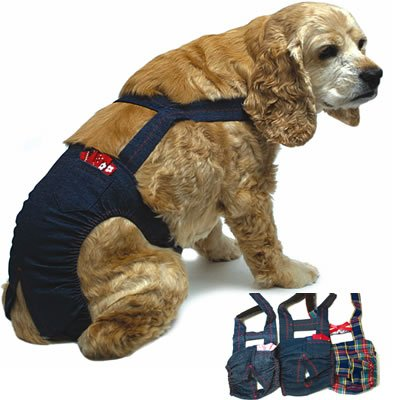 Joybies Durable Denim Piddle Pants(tm) for Large Male Dog (Measuring 17 -19  from Collar to Base of Tail)