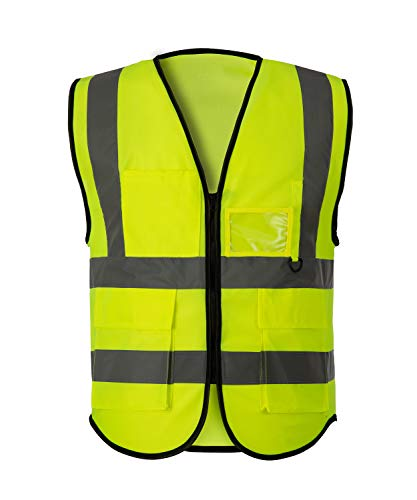 Coofig High Visibility Reflective Safety Vest 2 High Visibility Zipper Front Safety Vest With Reflective Strips,Yellow Meets ANSI/ISEA Standards(Size XL) (yellow 2) -