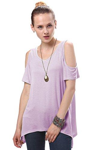Urban GoCo Femmes Casual Grande Taille Hors épaule T-Shirt V-col Manches Courtes Tops (S, Mauve)