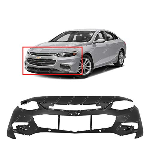 (MBI AUTO - Primered, Front Bumper Cover Fascia for 2016 2017 2018 Chevy Malibu LT Premier & Hybrid w/LED Running Lamps & Park Assist 16-18, GM1000999)