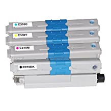 4 Pack Savink © Toner Cartridges Black Cyan magenta Yellow for Okidata C330, C17, Oki C310dn, Oki C310, C330, C331dn, C531, C330dn, Oki C510dn, Oki C510, C530, Oki C531d, C531dn, C331 C530dn, MC361, MC362w MFP, MC562w, MC361 MFP, MC561, MC562w MFP, MC362, MC561 MFP, MC362w, MC562 (44469801, 44469703, 44469701, 44469702) (Black: 3500, Color: 3000 Each) Page Yield.