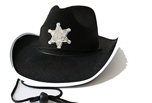 Walking Dead Sheriff Costumes (Halloween Cosplay Walking Dead Carl Black Sheriff Cowboy Hat)