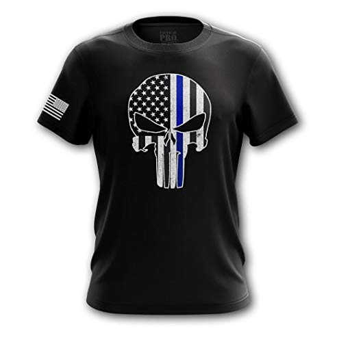 Tactical Pro Supply Punisher Blue Line T Shirt, Black, Large ()