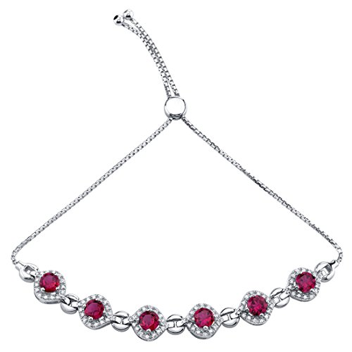 (Sterling Silver Created Ruby Equate Adjustable Bracelet 3.75 Carats)