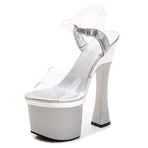 Xing Lin Ladies High Heel Sandals The New Summer Women Shoes Nightclubs Shoes Show 18Cm/20 Centimeters High With Sandals Shoes With Bold Scene. Transparent LUV3RA