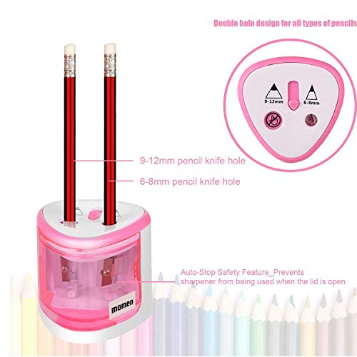 Electric Pencil Sharpener,Heavy Duty Battery Operated Automatic Pencil Sharpener manual for Office School Classroom Kids Artists,Cute Best Handheld Portable Cordless for No.2 and Colored Pencils(Pink) Photo #2