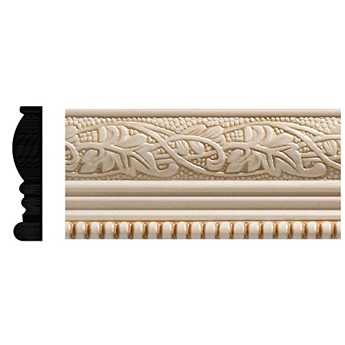 Hardwood Moulding - 1825 1/2 in. x 2-1/4 in. x 96 in. White Hardwood Embossed Ivy/Bead Trim Chair Rail Moulding