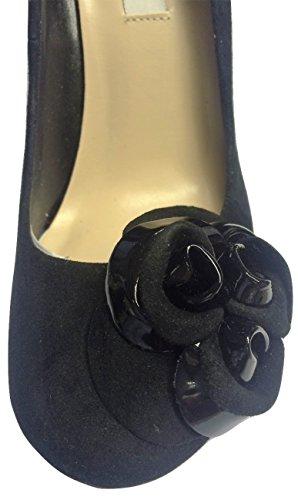 Dune Black Real Suede Patent Corsage Court Shoe nZ9q9d