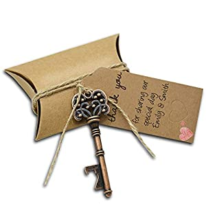 50Pcs Wedding Favors Skeleton Key YuQi Bottle Opener with 50pcs Escort Card Tag and Twine for Guests Party Favors Rustic 17