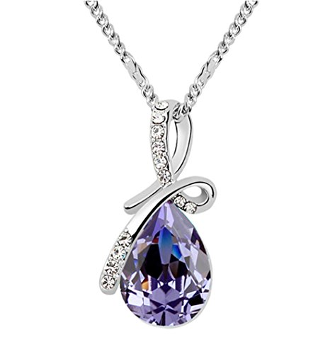 Swarovski Amethyst - Gold Plated Small Size Swarovski Crystal Elements Eternal Love Teardrop Pendant Necklace Fashion Jewelry for Women (Amethyst Purple)
