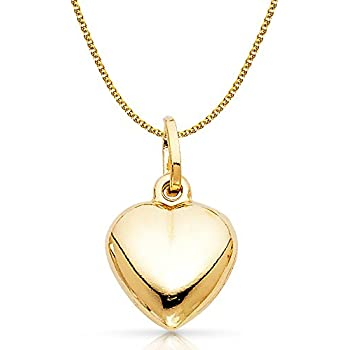 14K Two Tone Gold Cross in Fancy Heart Charm Pendant with 0.9mm Wheat Chain Necklace