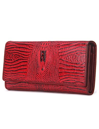 Leather Bag Shoe Embossed (Contacts Womens Genuine Leather Wallets Long Alligator Crocodile Embossed Clutch Purse Red)