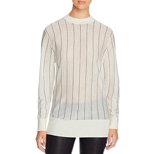 Dkny Wool Cardigan (DKNY Womens Merino Wool Striped Pullover Sweater Black-Ivory L)