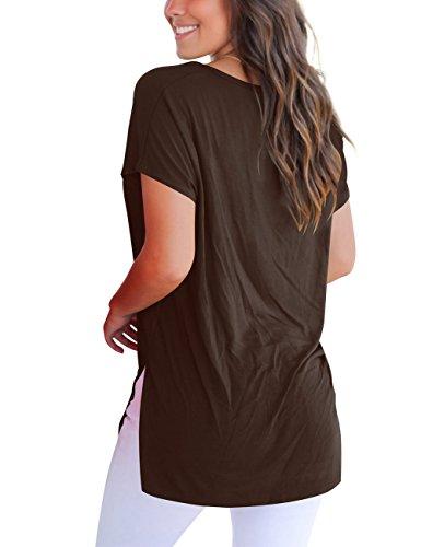 Tee Donna Magliette T Manica Con V A Scollo shirt Basic Dasbayla Corta Caffè 1PxwFS