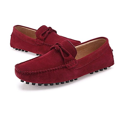 Slip para Mocasines 2018 Penny Shoes Zapatos Top Mocasines Vino Hombres Hombre Casual Cuero Low Color 43 Mocasines de Boat Vino Suede EU On tamaño Conducción Genuino los p5Txqx
