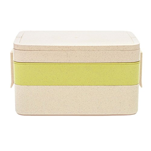 Wheat Straw Lunch Box - WinCret Fashionable Three Floor Lunch Container Fast Food Box for Kids and Adults, including Spoon, Chopsticks and - Vented Glass New Bottles