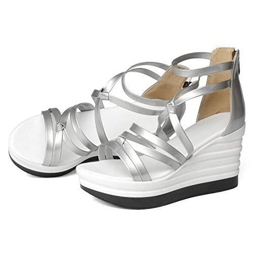 COOLCEPT Damen Mode Knochelriemchen Sandalen Cut Out Keilabsatz Open Toe Schuhe Zipper Silber