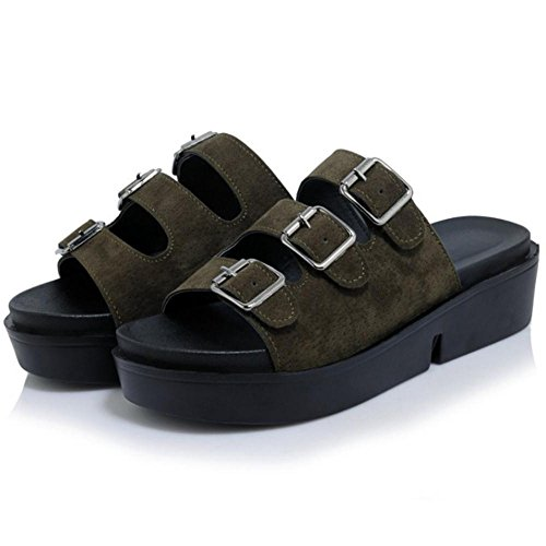 Mules TAOFFEN Green Sandales Casual Femmes rtHxUvrqw